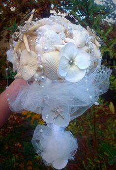 Seashell Bouquet White Beach Boutineer By BeachBasketBride