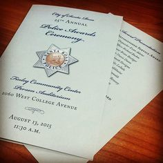 "These three-page programs were printed for the Santa Rosa Police Departments ""Police Awards Ceremony""."
