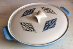 Vintage retro pattern, Blue Diamonds by Iroquois - Southern Vintage Table