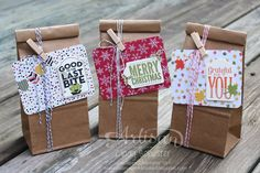 Project Life Seasonal Snapshot cards with Merry Everything Bundle make easy gift bags for each holiday ~ Cindy Schuster Stampin' Up! Christmas Treats For Gifts, Christmas Bags, Christmas Wrapping, Pretty Packaging, Gift Packaging, Craft Bags, Craft Gifts, Project Life, Clear Gift Bags