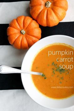 Pumpkin Carrot Soup - delia creates - think about adding a dash of curry to this instead of thyme perhaps. Pumpkin Carrot Soup, Pumpkin And Ginger Soup, Vegan Carrot Soup, Carrot Ginger Soup, Canned Pumpkin, Pumpkin Recipes, Soup Recipes, Cooking Recipes, Healthy Recipes