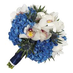 Blossom: Hydrangea, Orchids  Color: Blue  Flower Type: Bouquets  Wedding Style: Beach