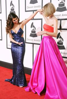 Taylor and Selena Gomez at the 2016 Grammy Awards