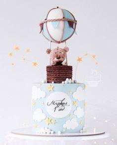 24 ideas birthday cake baby boy balloons for 2019 Baby Shower Cupcakes For Girls, Baby Shower Cakes, Baby Boy Shower, Baby Boy Balloons, Baby Shower Balloons, Baby Birthday Cakes, Baby Boy Cakes, Birthday Kids, Hot Air Balloon Cake