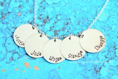 Personalized 5 Names Mother's Necklace by youregonnalovethis Hand Stamped Kids Names Children's Names