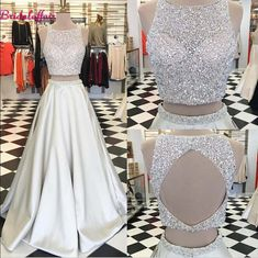 Prom Dress Princess, Jewel Crystals Two Piece Formal Evening Dress A-line Sleeveless Gorgeous Prom Dress Shop ball gown prom dresses and gowns and become a princess on prom night. prom ball gowns in every size, from juniors to plus size. 2 Piece Formal Dresses, Ivory Prom Dresses, Gorgeous Prom Dresses, Prom Dresses Two Piece, Prom Dresses 2016, A Line Prom Dresses, Formal Evening Dresses, Dress Prom, Dress Long