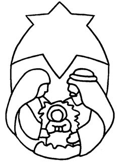 nativity coloring pages...this one is basic enough to do a stained glass image
