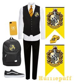 """""""Hogwarts uniform 2017 - Hufflepuff( usual day) for boys"""" by maddigrace-ccc ❤ liked on Polyvore featuring River Island, Joseph, Tom Ford, Vans, WeSC, men's fashion and menswear"""