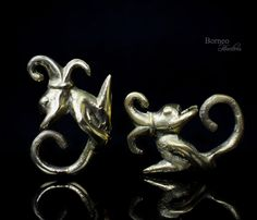 Brass Earweights Tribal Borneo Dayak Brass Earrings Aso Dragon Earplug/Earstud/Dangle Drop Ear Ornament Ethnic Piercing Gauge Jewelry by BorneoHunters on Etsy
