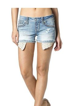 Light Wash Lace Extended Pocket Miss Me Shorts