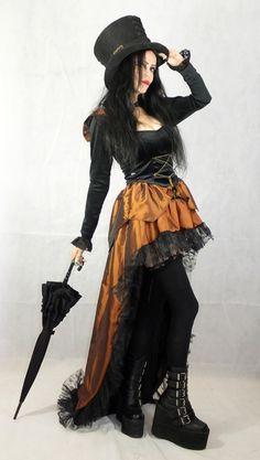 Cirque du Gothique Skirt - long steamd taffeta steampunk skirt by Moonmaiden Gothic Clothing UK