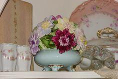 Vintage Bone China Porcelain Bowl Roses Flowers Adderley English Huge Centerpiece by SimplyCottageChic on Etsy