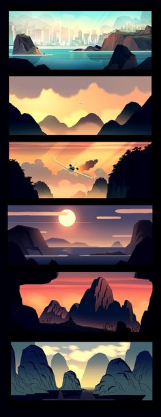 Scenic Illustrations By Romain Trystram Animation Background, Art Background, Background Designs, Landscape Background, Environment Concept Art, Environment Design, Art And Illustration, Doodle Drawing, Wie Zeichnet Man Manga