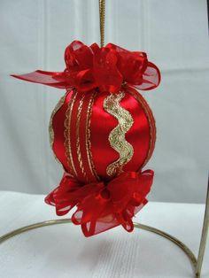 Handmade Christmas Tree Ornament Vintage Red by BobbyesHobbies, $14.95