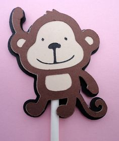 12 Cupcake Toppers  Jungle Zoo Monkey Collection by 2mommysscrapin, $10.00