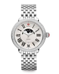 2c1036d58599 MICHELE Serein Moon Phase Diamond Watch Head   Bracelet Strap