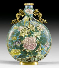 A Cloisonné enamel moon flask China, Qianlong mark and of the period