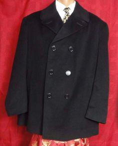 Lauren By Ralph Lauren Men's Black Wool Pea Coat Size XL #LaurenbyRalphLauren #Peacoat