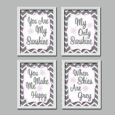 Grey Pink Chevron Pattern You Are My Sunshine Quote Crib Nursery Song Print Artwork Set of 4 Prints Wall Decor Art Picture