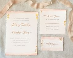 Blush pink watercolour, gold leaf, handwritten gold ink calligraphy on hand torn paper - the most romantic wedding invitations.