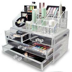 a organizador de cosmeticos acrilico transparente con estuche de caja de presentacion de joyas de maquillaje cajones