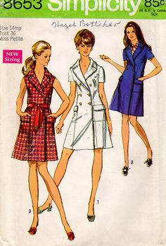 Simplicity 8653 Coatdress Dress Uncut Size 14 Mp Bust 36 Miss Petite Uncut Double Breasted Vintage Retro 1960's 60's Sewing Pattern by LanetzLiving on Etsy