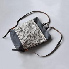 MINI PACK rain/charcoal wax by bookhoudesign on Etsy Waxed Canvas, W 6, Dark Brown Leather, Tote Purse, Charcoal Color, Mini Bag, Leather Backpack, Screen Printing, Etsy