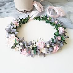 A delicate floral crown in dusty tones of blue and pink. The size of the wreath is adjustable with t Blue Wedding Flowers, Burgundy Flowers, Flower Crown Wedding, Blush Flowers, Bridal Flowers, Floral Wedding, Bridal Crown, Ribbon Wedding, Crown Flower