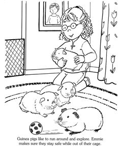 girl and guinea pigs