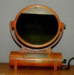 Vintage Bakelite Catalin Makeup Mirror Lighted Art Deco Hollywood
