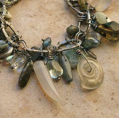 Aquamarine, Labradorite, and Fine Silver Charm Bracelet.  @Laura Terry