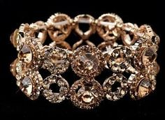 New! Beautiful Rose Gold Crystal Stretch Bracelet $49.00