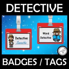 Detective badges that increase the fun-factor in your classroom learning. Great for literacy and numeracy programmes, mystery units, secret spy activities, code breaking, escape room activities, etc.THE WORDS:Word DetectiveSuper DetectiveDetective _________ ( write the student's name eg 'Detectiv... Word Study, Word Work, Decoding Strategies, Literacy And Numeracy, Coding For Kids, Secret Code, Letter Size Paper, Dramatic Play, Escape Room