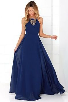 Dark blue chiffon round neck long prom dress evening dress, SRS, This dress could be custom made, there are no extra cost to do custom size and color. Prom Dresses 2015, Prom Dresses Blue, Pretty Dresses, Beautiful Dresses, Evening Dresses, Bridesmaid Dresses, Maxi Dresses, Dress Prom, Fashion Dresses