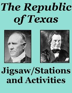 Students learn about, or review, Texas as a Republic with this jigsaw or stations activity. It focuses on the presidencies of Sam Houston and Mirabeau Lamar and has an overview of the road to annexation. Students read 5 passages and fill out graphic organizers, complete a brief timeline and map, a sorting and quote activity, answer 12 review questions, and more!