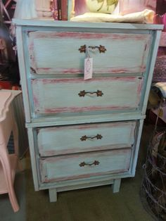 Turquoise chalking dresser by Deadwood City Aged Rarities and A Junk Queen