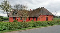 Thatched roof cottage near Spettrup, Denmark