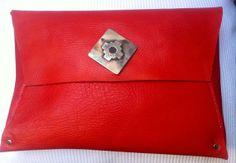 Handbag red leather orange beef. Handmade. Exclusive design. Detail alpaca mitograma
