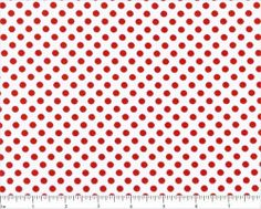 Lots of Dots - medium red polka dots on white cotton - YARD | FabricFrantic - Craft Supplies on ArtFire