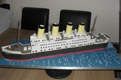 """Sunday April 1, 2012 Edible Art of the Day winner is David Mason - Titanic  David Mason       www.facebook.com/pages/Daves-All-Occasion-Cakes/282582395104260    A 30""""long Titanic Birthday Cake all totally edible"""