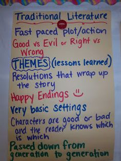 Traditional Literature - anchor charts for fairy tales, legends, myths