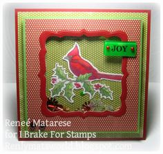 I Brake For Stamps: CARDINAL ... Handmade Christmas shaker card with sequins.