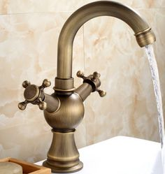 Antique Brass One Hole Two Handles Bathroom Sink Faucet T1808M