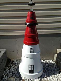 Clay Pot Lighthouse Crafts | Clay pots lighthouse. | Terra Cotta Pot ...
