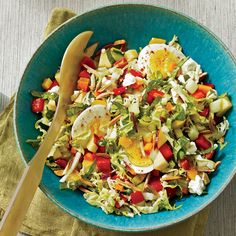 Summer Chopped Salad with Quick-Pickled Vegetables Recipe - kind of gourmet but not hard. Craving this every day it's hot, hot, hot. Healthy Egg Recipes, Vegetable Recipes, Salad Recipes, Vegetable Salad, Fruit Recipes, Pickled Vegetables Recipe, Pickled Carrots, Wine Recipes, Cooking Recipes