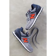 New Balance 574 Sneakers ($75) ❤ liked on Polyvore featuring shoes, sneakers, orange, synthetic shoes, new balance, orange sneakers, orange shoes and new balance footwear