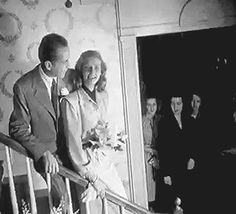 Humphrey Bogart & Lauren Bacall's wedding on May 21, 1945 ~ They cut the cake, then she throws the bouquet. [GIF]