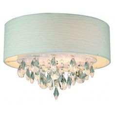 Rossini Chrome Two-Light Flush Mount with White Rugate Fabric Shade and Crystal Accents