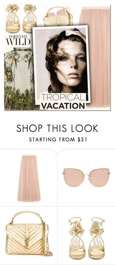 """""""Welcome to Paradise: Tropical Vacation IV"""" by vampirella24 ❤ liked on Polyvore featuring Needle & Thread, Aroma, Topshop, Yves Saint Laurent and Jimmy Choo"""