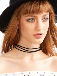 Black Layered Simple Cord Choker Necklace — 0.00 € --------------color: Black size: None